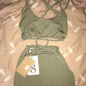 Super sexy khaki olive green Sabo Skirt Dress XS